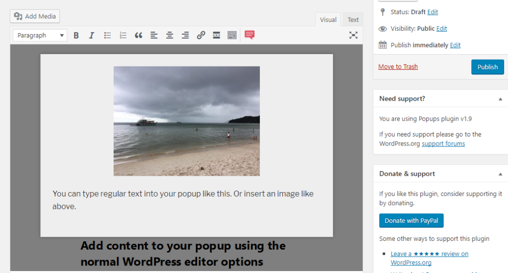 add content to popup plugin