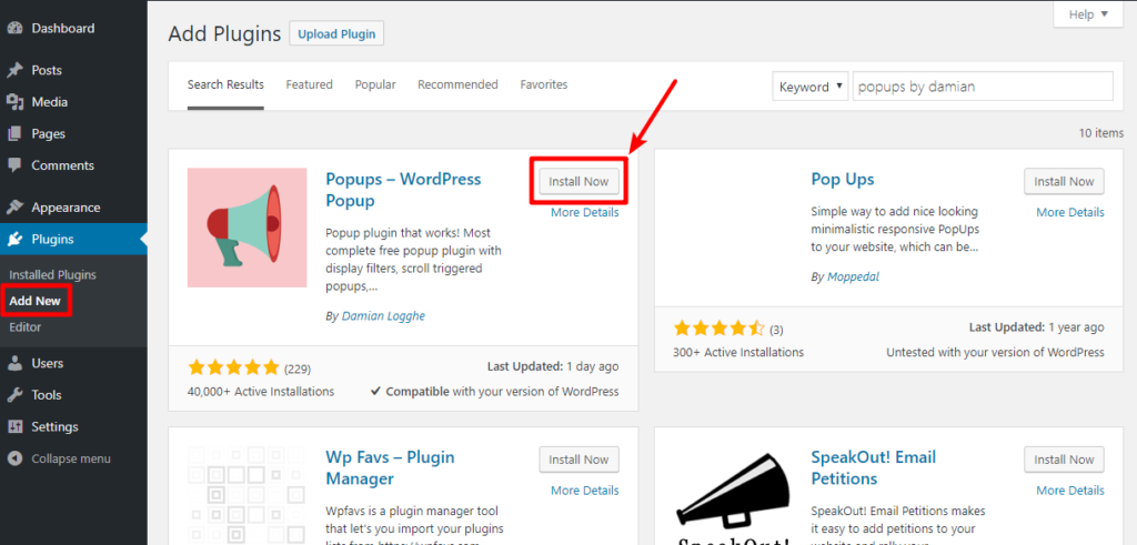 Install wordpress popup