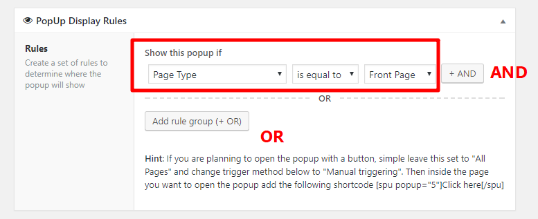 wordpress popup display rules