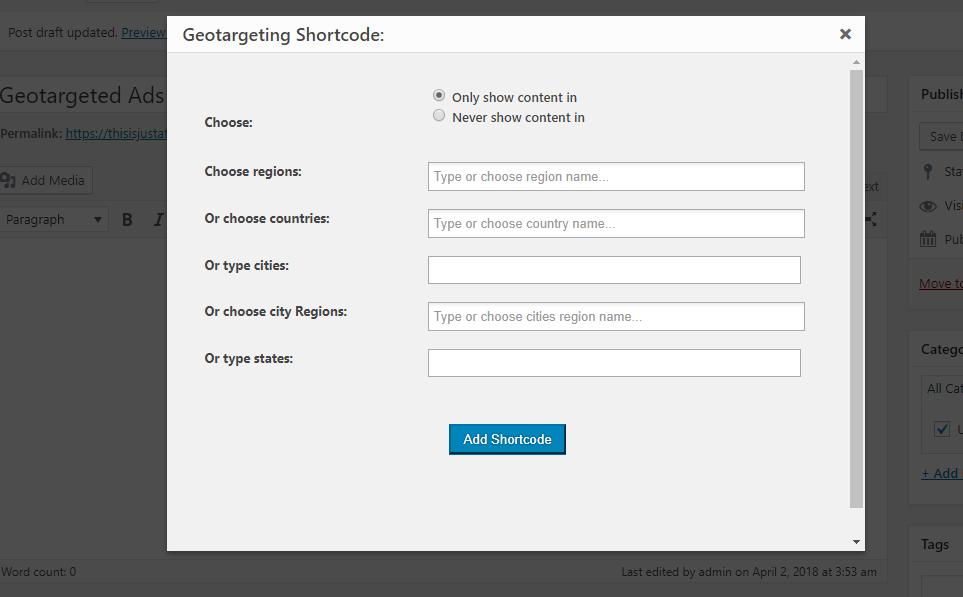 geotarget shortcode